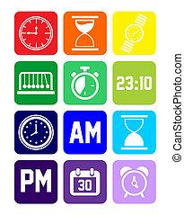 conjunto, ajustado, reloj, iconos