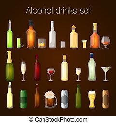 conjunto, alcohol, bebidas
