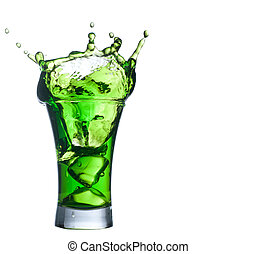 Conjunto,  Alcohol, cóctel, salpicadura, verde, blanco