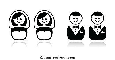 Conjunto, alegre, iconos,  /, boda, lesbiana