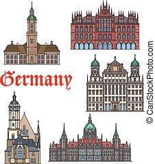 conjunto, alemán, viaje, delgado, señal, línea, icono
