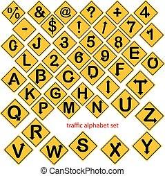 conjunto, alfabeto, aislado, ilustración, número, vector, tráfico, amarillo, señales, o, camino