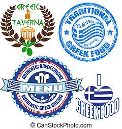 conjunto, alimento, etiquetas, griego, auténtico, estampilla