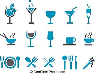 conjunto, alimento, icono
