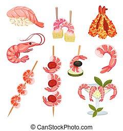 conjunto, alimento, ilustración, fondo., shrimp., vector, blanco