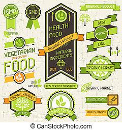 conjunto, alimento orgánico, etiquetas, banners., stickers.