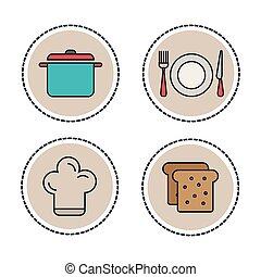 conjunto, alimento, y, utensilios, línea, iconos