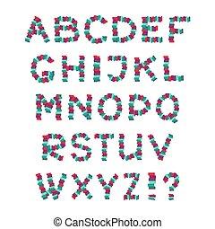 conjunto, alphabet., illustration., letters., vector, inglés, diversión