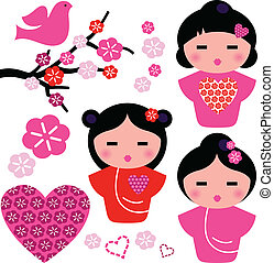 conjunto, amor, geisha, aislado, elementos, floral, japón blanco