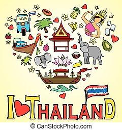 conjunto, amor, iconos, color, símbolos, vector, tailandia,...