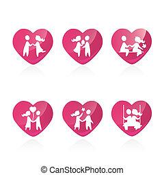 conjunto, amor, iconos, pareja, -, ilustración, vector
