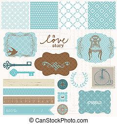 conjunto, amor, vendimia, -, elementos, diseño, álbum de recortes