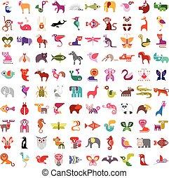 conjunto, animal, icono