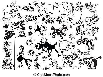 conjunto, animales, caricatura
