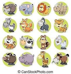 conjunto, animales