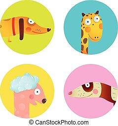conjunto, animales, iconos, colección, caricatura, diversión, diseño, bebé, niños