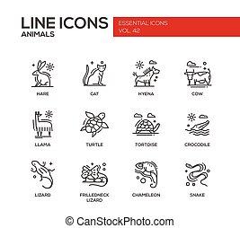 conjunto, animales, iconos, -, diseño, línea