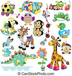 conjunto, animales, juguetes