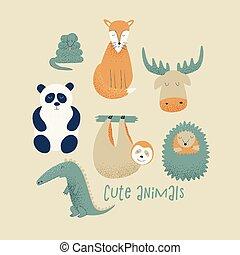 conjunto, animales, panda