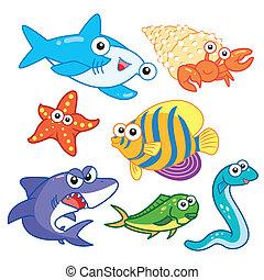 conjunto, animales, plano de fondo, mar, blanco, caricatura