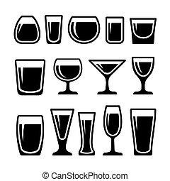 conjunto, anteojos, bebida, iconos