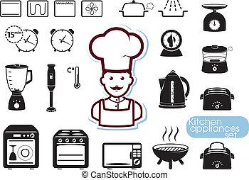 conjunto, aparatos, cocina