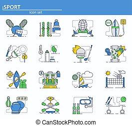 conjunto, app, voleibol, diseño, deporte, style., iconos de...