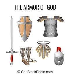conjunto, armadura, dios, aislado, vector, white., elementos