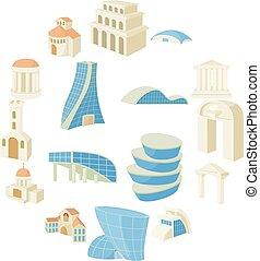 conjunto, arquitectura, iconos