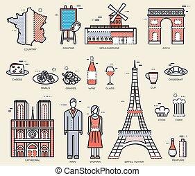 conjunto, arquitectura, infographic, diseño, bienes, viaje,...