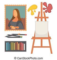 conjunto, arte, colorido, cartel, equipo, vector, obra...