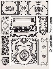 conjunto, arte, frames., deco, portfolio., otros