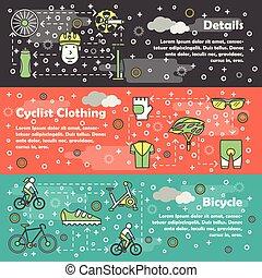 conjunto, arte, vector, delgado, plantilla, bicicleta, línea, bandera