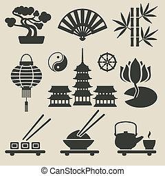 conjunto, asiático, iconos