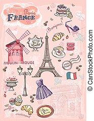 conjunto, atracciones, parís, francia, vario, imágenes