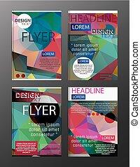 conjunto, aviador, diseño, resumen, polygonal., empresa / negocio, plantilla, para, aviador, bandera