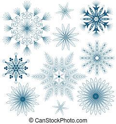 conjunto, azul, copos de nieve