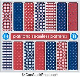 conjunto, azul, seamless, patrones, patriótico, rojo blanco