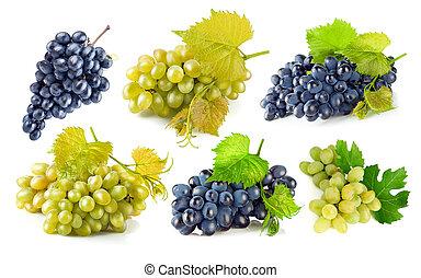 conjunto, azul y verde, uvas, con, hoja