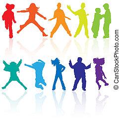 conjunto, bailando, coloreado, reflexión., adolescentes, saltar, siluetas, vector, posar
