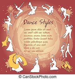 conjunto, bailando, siluetas