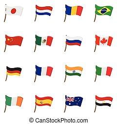 conjunto, bandera, iconos, estilo, caricatura