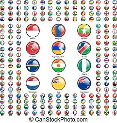 conjunto, banderas, de, mundo, soberano, states., vector,...