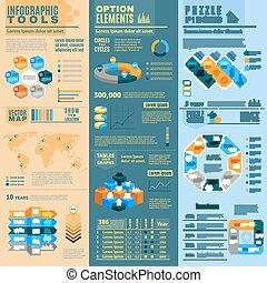 conjunto, banderas, infographic