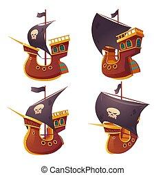 conjunto, barco, blanco, pirata, fondo., aislado