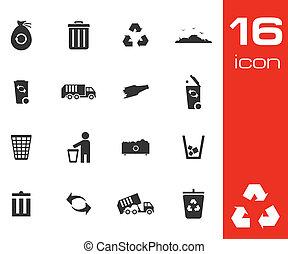 conjunto, basura, iconos, vector, fondo negro, blanco