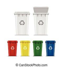 conjunto, basura, vector, reciclar, basura, cajones