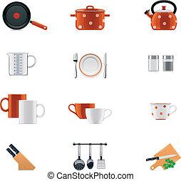 conjunto, batería de cocina, icono