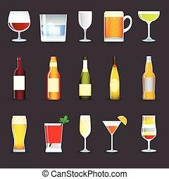 conjunto, bebidas, alcohol, iconos