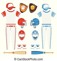 conjunto, beisball, eqipment, rojo